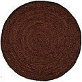 Hand-woven Brown Jute Braided Rug (6' x 6' Round)