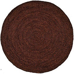Hand-woven Brown Braided Jute Rug (8' Round)