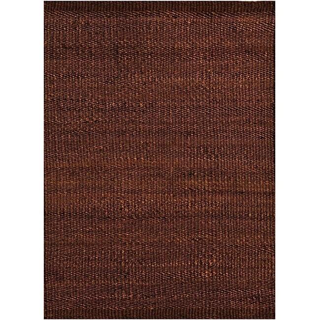 Hand-woven Brown Jute Rug (6' x 9')