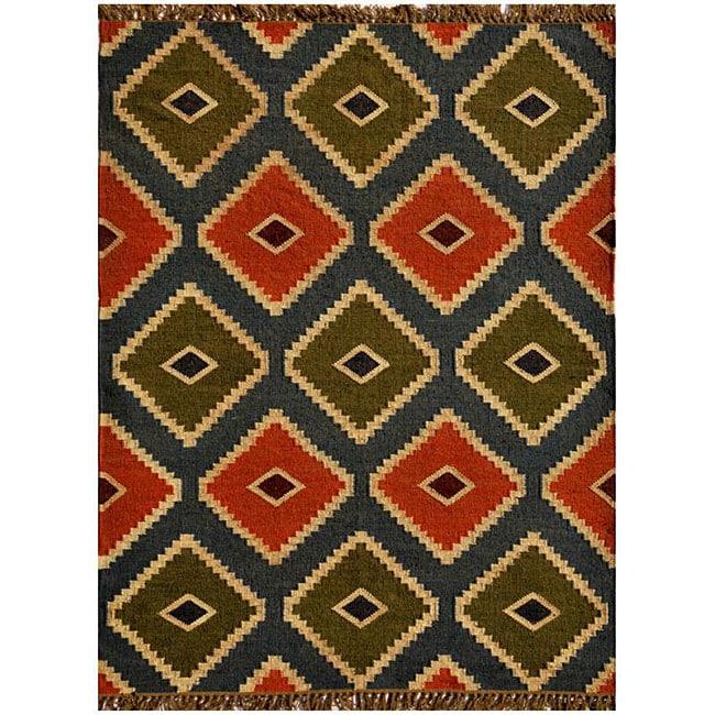 Hand-woven Wool/ Jute Kilim Rug (6' x 9')