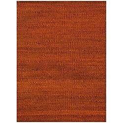 Hand-woven Rust Jute Rug (8' x 11')