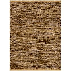 Hand-woven Black/ Beige Jute Rug (8'x 11')