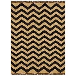 Chevron Hand-woven Kilim Wool Geometric Rug (8' x 11')
