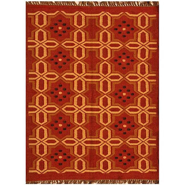 Hand-Woven Kilim Transitional Wool Rug (6' x 9')