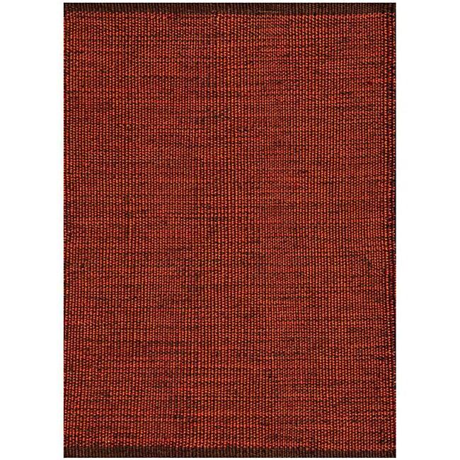 Hand-woven Burgundy Jute Rug (5'x 8')