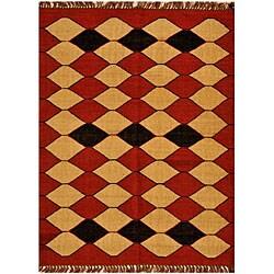 Hand-Woven Kilim Geometric Wool Rug (6' x 9')