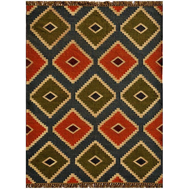 Transitional Handwoven Kilim Wool Rug (8' x 11')