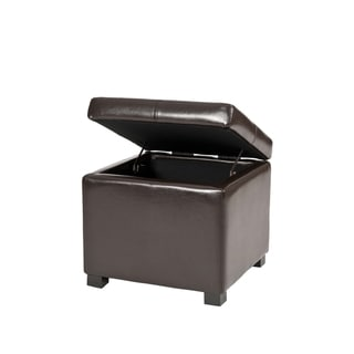 Safavieh Broadway Brown Leather Storage Ottoman