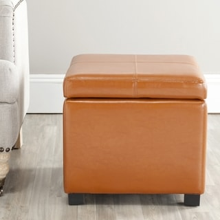 Broadway Saddle Leather Storage Ottoman