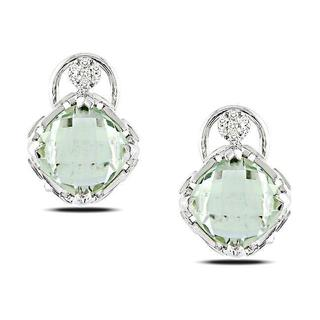 Miadora Sterling Silver Green Amethyst and Diamond Accent Earrings (G-H, I3)