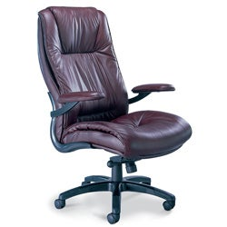 Mayline Burgundy Leather High-Back Swivel/Tilt Executive Office Chair