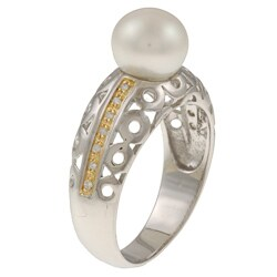 Kabella Kabella Two-Tone Sterling Silver FW Pearl and Cubic Zirconia Ring (8-9 mm)