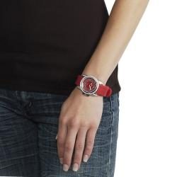 Geneva Platinum Women's Rhinestone-Accented Cherry-Red Silicone Watch