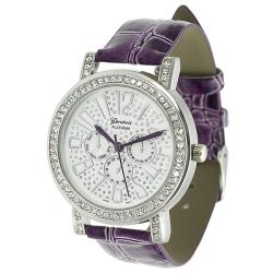 Geneva Platinum Women's Rhinestone Crocodile Pattern Strap Watch