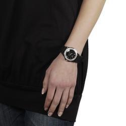 Geneva Platinum Women's Rhinestone Fleur De Lis Black Silicone Watch