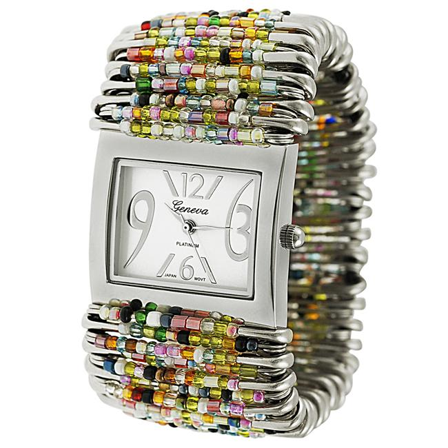 Geneva Women's Platinum Beaded Safety Pin Stretch Watch