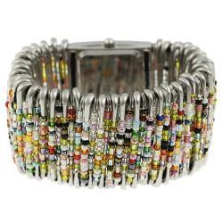 Geneva Women's Platinum Beaded Safety Pin Stretch Watch