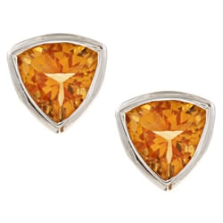 Kabella Sterling Silver Trillion-cut Citrine 7-mm Stud Earrings
