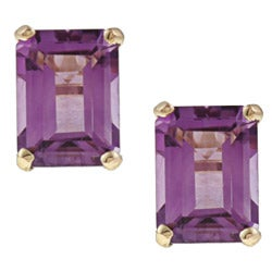 Kabella 14k Yellow Gold Emerald-cut Amethyst Stud Earrings