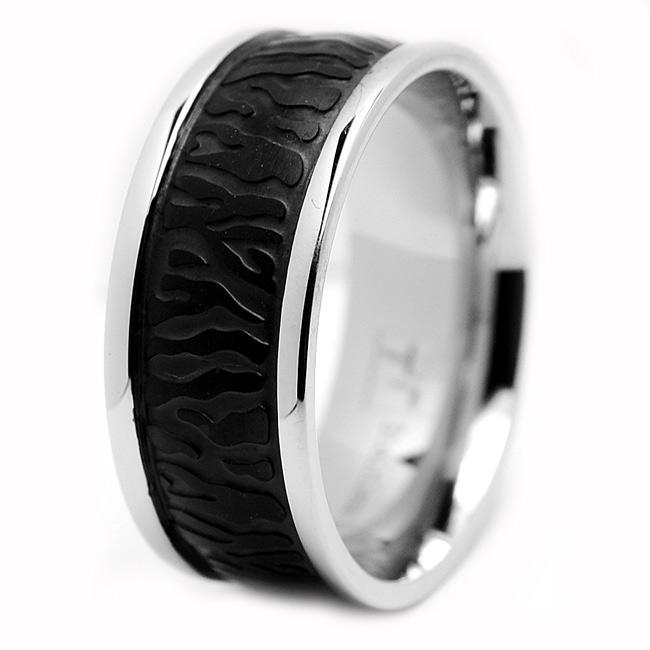 Oliveti Stainless Steel Black-plated Men's Ring