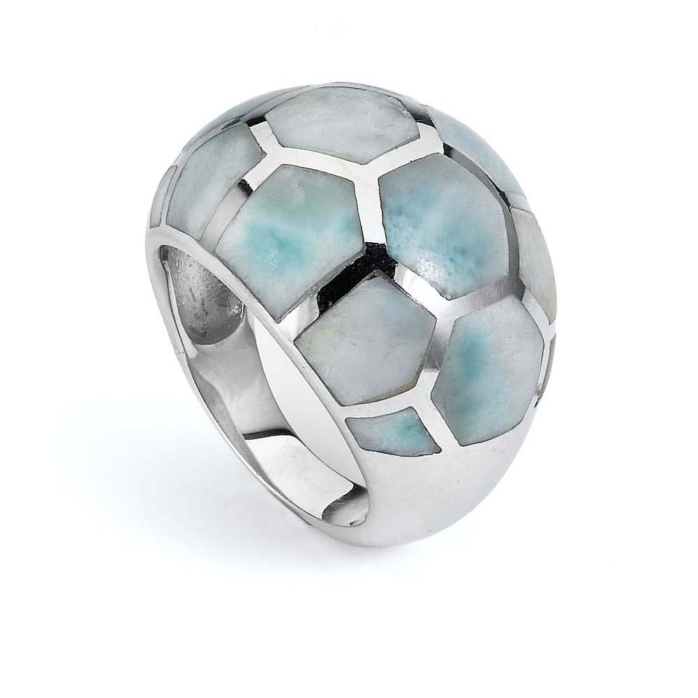 Sterling Silver Larimar Hexagon Ring