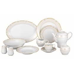 Lorren Home Gold Paris 49-piece Dinnerware Set