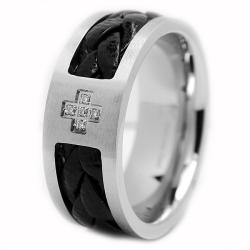 Oliveti Stainless Steel Men's Leather Inlay Cubic Zirconia Cross Ring