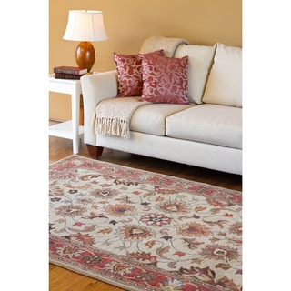Hand-tufted Vault Beige/Red Traditional Border Wool Rug (5' x 8')