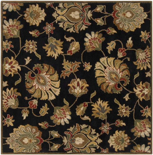 Hand-tufted Caper Black Wool Rug (6' Square)
