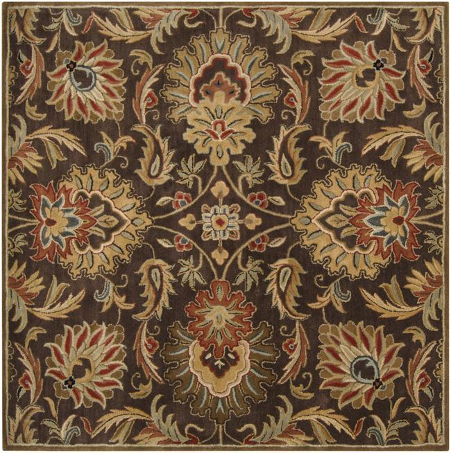 Hand-tufted Grand Chocolate Brown Floral Wool Rug (8' x 8')