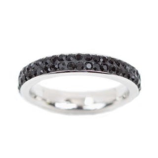 NEXTE Jewelry Stainless Steel Black Rhinestone Nebula Band