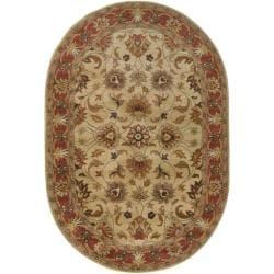 Hand-tufted Vault Beige/Red Traditional Border Wool Rug (8' x 10')