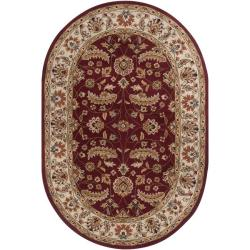 Hand-tufted Kaiser Red Wool Rug (6' x 9' Oval)