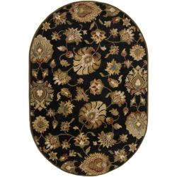 Hand-tufted Caper Black Wool Rug (6' x 9' Oval)