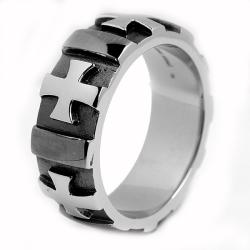 Oliveti Stainless Steel Men's Black-plated Cross Ring