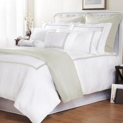 Ecru Stripe Baratto Stitch Full/ Queen-size 3-piece Duvet Cover Set