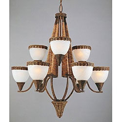 Bombay 9-light Bamboo Wicker Chandelier