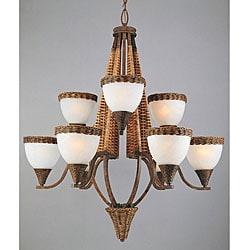 Bombay 9-light Bamboo Wicker Chandelier