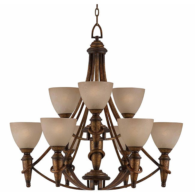 Parthenon 9-light Antique Gold Chandelier