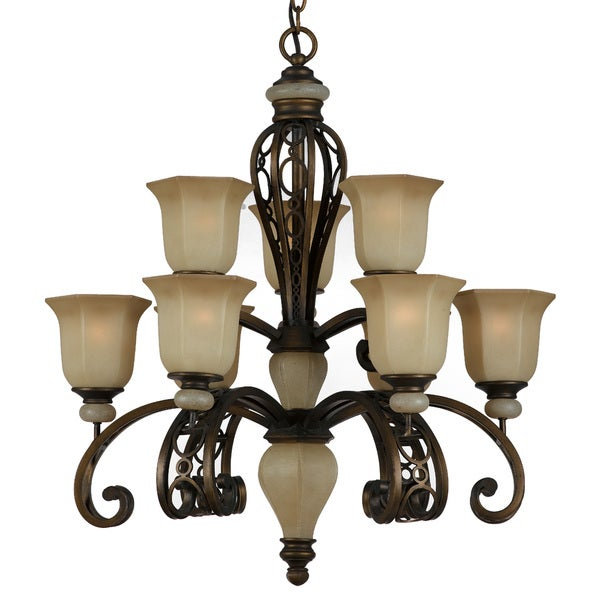 Ironstone 9-light Platinum Bronze Chandelier