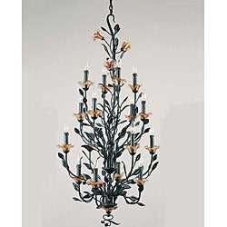 Amber Mist 16-light Blacksmith Bronze Chandelier