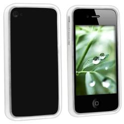 Clear White Bumper TPU Rubber Case for Apple iPhone 4