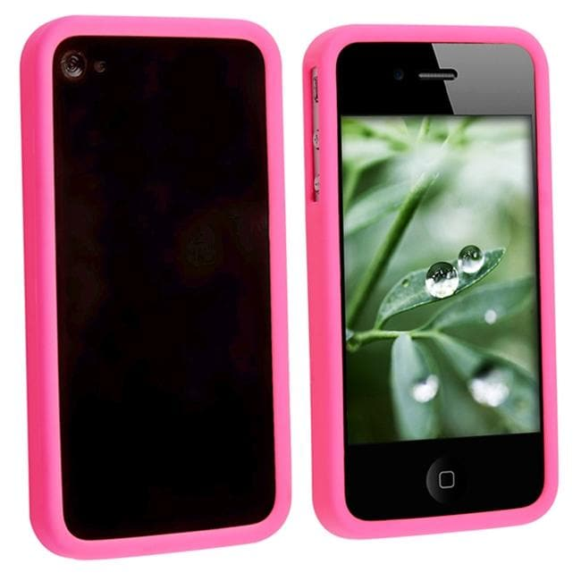 Hot Pink Bumper TPU Rubber Case for Apple iPhone 4