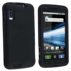 Snap-on Black Rubber Coated Case for Motorola MB860 Atrix 4G