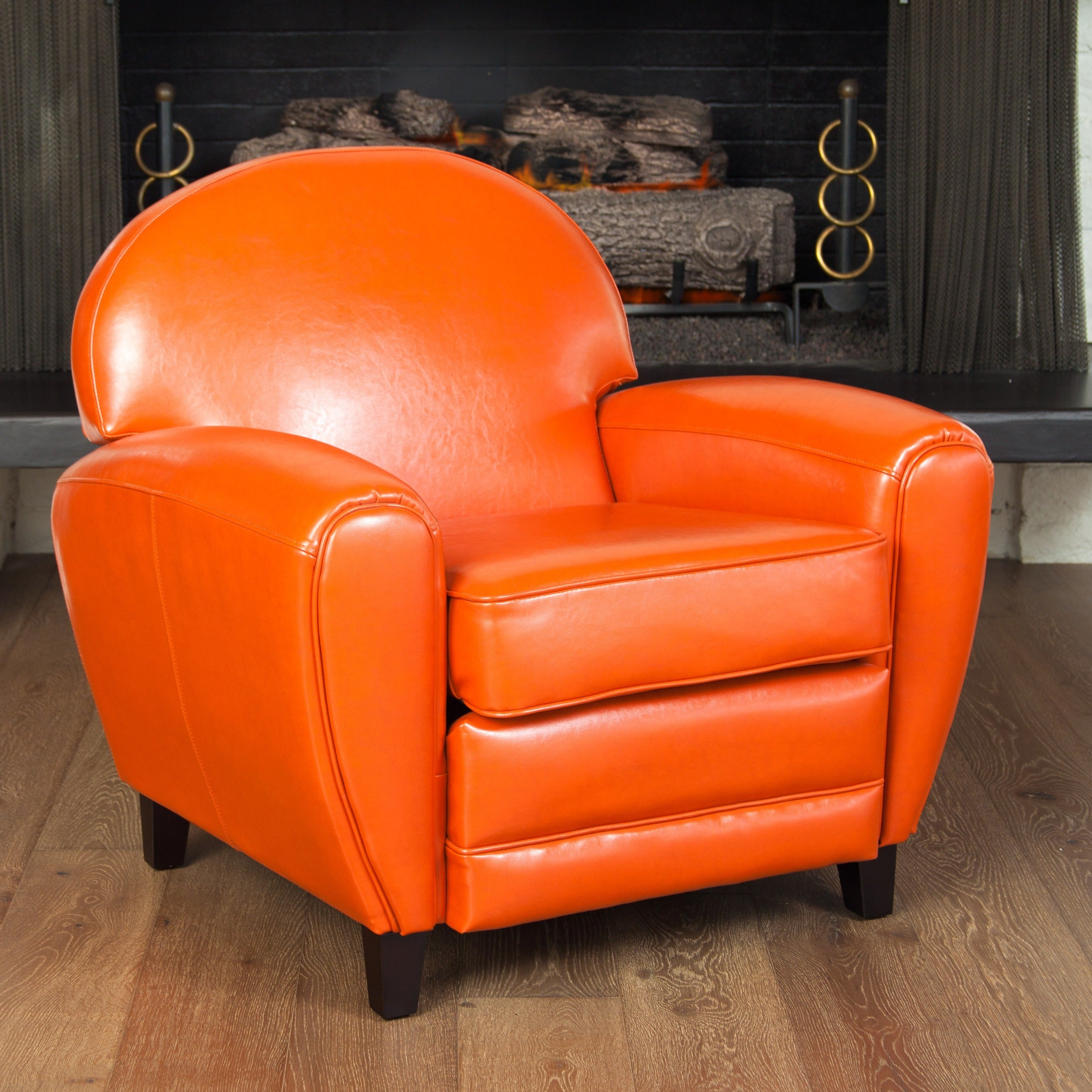 Oversized burnt orange leather club chair overstock shopping great deals on living room chairs for Oversized leather living room furniture