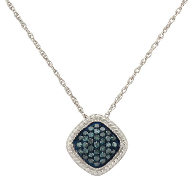 Sterling Silver 1/4ct TDW Blue Diamond Necklace