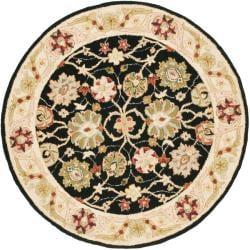 Safavieh Micro Hand-hooked Chelsea Mahal Black/ Beige Wool Rug (4' Round)