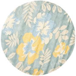 Safavieh Handmade Soho Blue/ Multi New Zealand Wool Rug (6' Round)