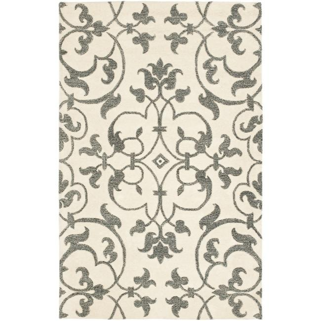 Safavieh Handmade Soho Ivory/ Grey New Zealand Wool Rug (3'6 x 5'6')