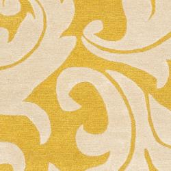 Handmade Soho Gold/ Ivory New Zealand Wool Rug (5' x 8')